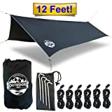 The Outdoors Way Hammock Tarp- 12' Quality Rain Fly for Extreme Waterproof Protection, Large Canopy is Portable and Provides Ideal Shelter for Your Camping Hammock Or Tent. Performance Delivered! (Color: Black)