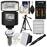 Sony Alpha HVL-F45RM Radio-Controlled Flash with Video Light + Batteries & Charger + Tripod + Soft Box + Diffuser + Kit