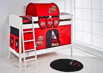 Lilo Kids letto a castello IDA 4106Disney Cars-teilbares Sistema letto a soppalco-bianco-con tenda e reti a doghe