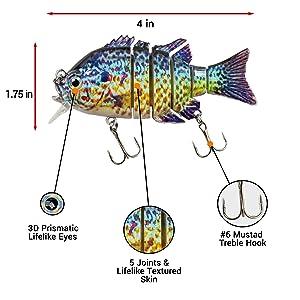 Sunrise Angler 4 Inch Bluegill Jointed SwimbaitSinking Hard Bait Fishing Lure