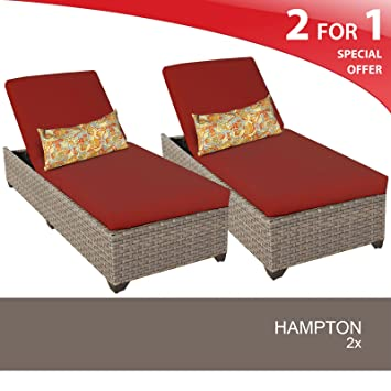 Hampton Chaise Set of 2 Outdoor Wicker Patio Furniture Terracotta