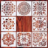 AxPower Mandala Painting Stencils Reusable Stencil Laser Cut Painting Template Floor Wall Tile Fabric Furniture Stencils, Set of 8 (6x6 inch) (Color: Set of 8)