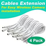 [4 Pack] Crystal Vision Premium HD Wireless Camera Power Extension for Crystal Vision (Tamaño: 15 feet)