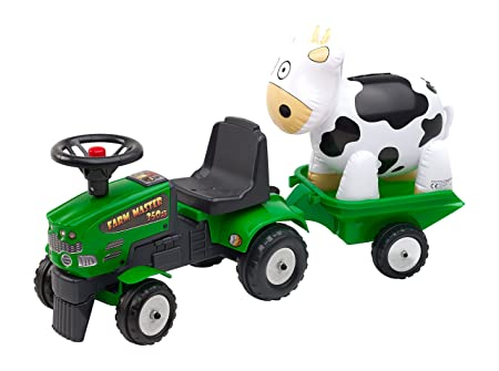 Falquet & Cie - 1081F - Porteur Farm Master 350S/Remorque Et Vache Gonflable - Vert