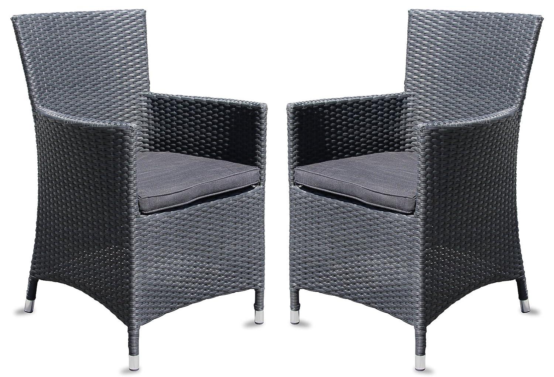 2x Hochwertiger Polyrattan Gartenstuhl Sessel Rattan Stuhl Gartenstühle Gartenmöbel Schwarz günstig online kaufen