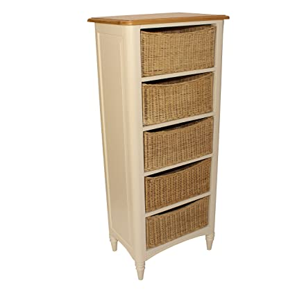Oak Top Wellington Storage Chest Of Drawers Oak Top Painted Finish Wicker Basket Drawers