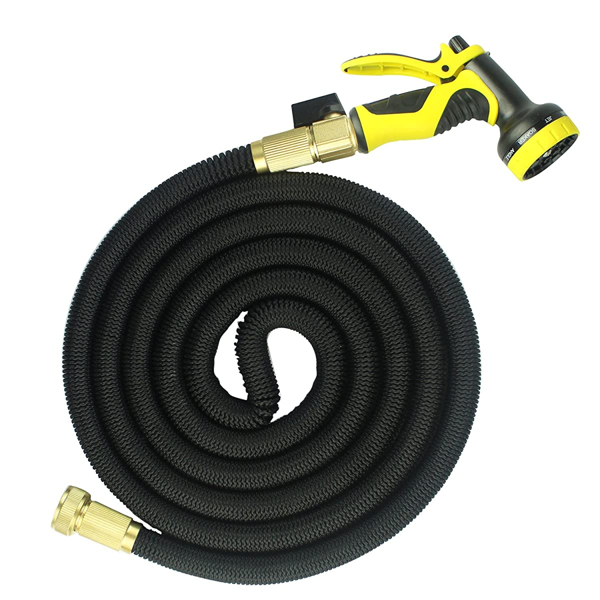 FOCUSAIRY 25 Feet Expanding Durable Expandable Strongest Outdoor Garden Water Hose with Shut Off Valve Solid Brass Connector and 9-pattern Spray Nozzle