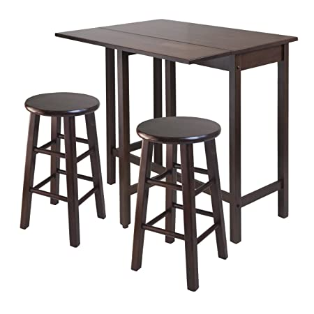 Winsome Lynnwood Drop Leaf Island Table with 2 Square Legs Stool Walnut, 3-Piece