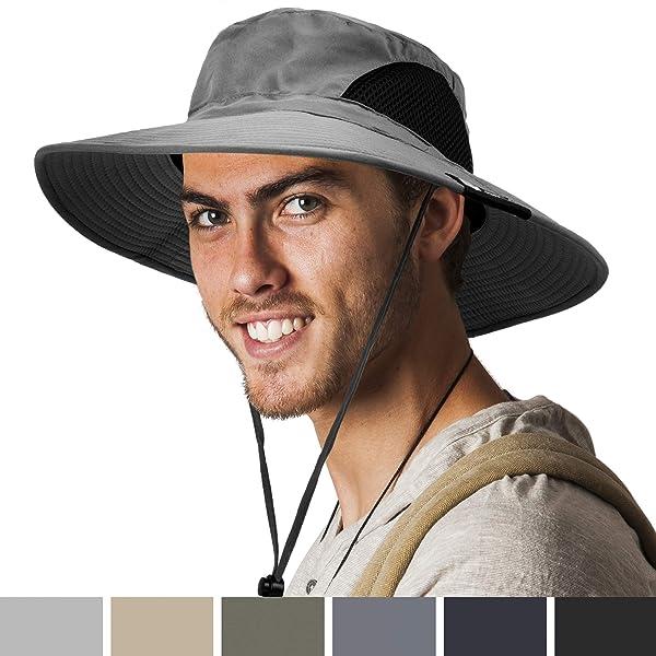 Men Women Fishing Sun Boonie Hat Summer Outdoor Wide Brim Foldable Bucket Cap