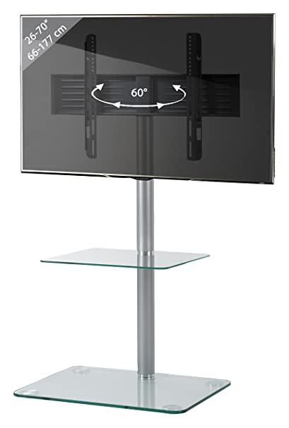 "VCM ""Alani"" TV Stand with Shelf, Metal, Clear"