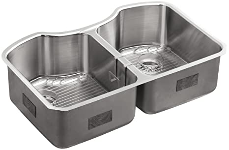 "KOHLER K-3843-NA Octave 32"" x 20-1/4"" Undermount Double-Equal Bowl Kitchen Sink, Stainless Steel"