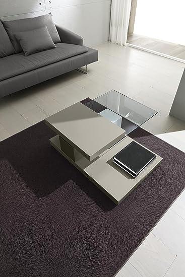 Tavolino da salotto tortora rettangolare con struttura in mdf ...