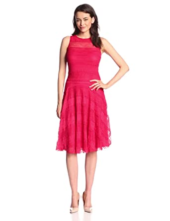 Sangria Women's Sleeveless Banded Fit and Flare Dress, Ruby, 10
