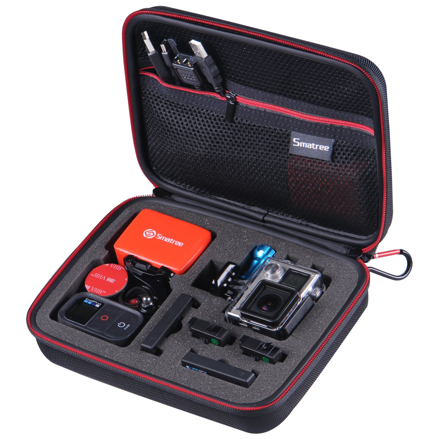 "Smatree SmaCase G160 - Medium Case for Gopro Hero 4/3+/3/2/1 and Accessories (8.6"" x6.7"" x2.7"") - Black & Red"