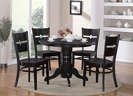 East West Furniture SHRO5-BLK-W 5-Piece Kitchen Nook Dining Table Set, Black Finish