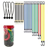 Best Choice 24-Piece Premium Bungee Cord Assortment in Storage Jar - Includes 10