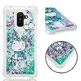 Galaxy A6 Plus Case,Tznzxm 3D Cartoon Design Quicksand Flowing Liquid Floating Bling Glitter Sparkle Lightweight Shockproof Anti-Scratch Protective Bumper for Samsung Galaxy A6+/A6 Plus 2018 Unicorn (Color: Unicorn)