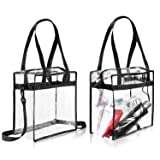 "Clear Bags NFL & PGA Stadium Approved - The Clear Tote Bag with Zipper Closure is Perfect for Work, Sports Games.Cross-Body Messenger Shoulder Bag w Adjustable Strap -12"" X 12"" X 6"" (Two Bag)"