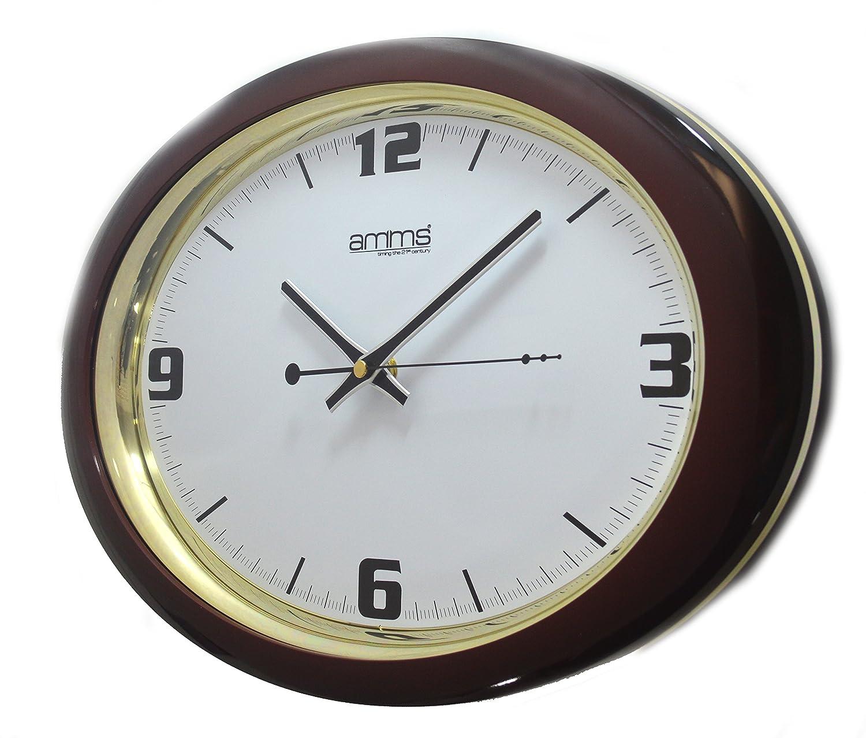 Bold Brown Oval Case Arabic Numerals Quartz Wall Clock