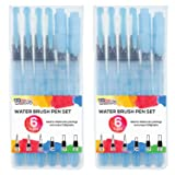 U.S. Art Supply 12-Piece Water Coloring Brush Pen Set of 12 (2 of each size - 01, 02, 03, 04, 07,10) - Refillable, Watercolor, Calligraphy, Painting
