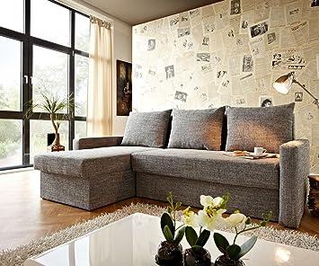 Couch Avondi Hellgrau 225x145 mit Bettkasten Ottomane variabel Ecksofa