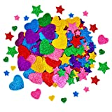 260 Pieces Glitter Foam Stickers Self Adhesive Stars and Mini Heart Shapes Glitter Stickers for Kid's Arts Craft Supplies Greeting Cards Home Decoration