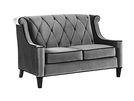 Armen Living 844 Barrister Loveseat, Gray Velvet, Black Piping