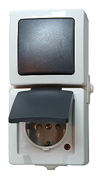 kopp 138556008 aus wechselschalter steckdosenkombination aufputz feuchtraum nautic db765. Black Bedroom Furniture Sets. Home Design Ideas