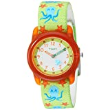 Timex Boys TW7C13400 Time Machines Green/Orange Octopus Elastic Fabric Strap Watch (Color: Green/Orange Octopus)