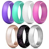 ThunderFit Silicone Rings, 7 Pack Wedding Bands for Women - 5.5 mm Wide (Color: Purple, Pink, Teal, White, Peach, Black with Purple Glitter, Silver, Tamaño: 6.5 - 7 (17.3mm))