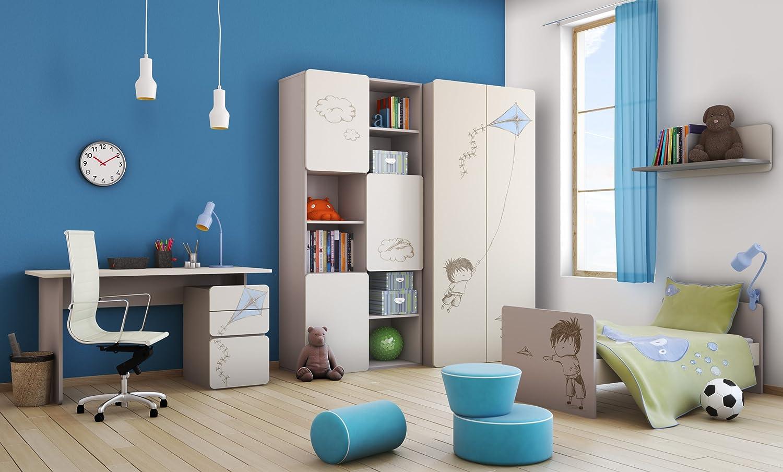 Babyzimmer Kinderzimmer ELEGANCE mit 'Boy'-Grafiken Babymöbel Set komplett 4teilig Kleiderschrank 2-türig Babybett Wickelkommode Wandregal kaufen