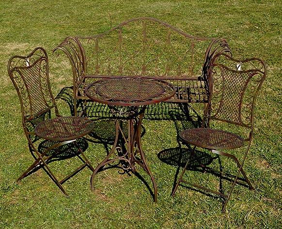 """'esclusiva 4tlg. Gruppo di sedie """"Eliza, Panca da giardino tavolo e 2Sedie, mobili da giardino, molto stabile in metallo"""