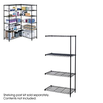 """Safco Products 5286BL Industrial Add-On Unit for Starter Unit 36 x 18"""" (sold separately), Black"""