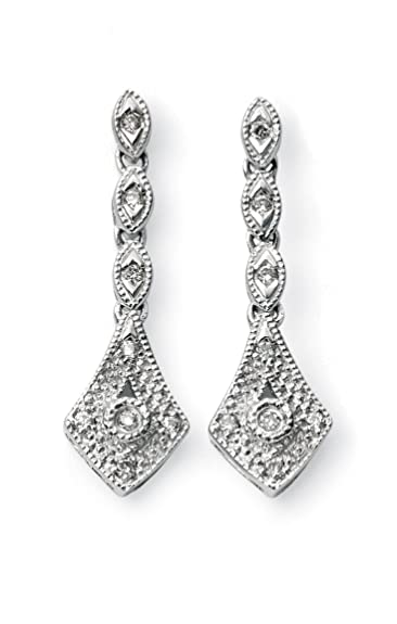 Elements Gold 9ct White Gold Vintage Drop Earrings with Diamonds