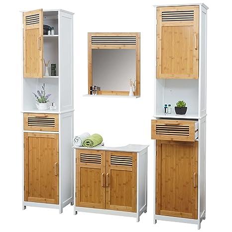 Arredo bagno serie HWC-A85 legno bambu e MDF set sottolavabo, 2 mobili alto e specchio 4 pezzi