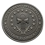 Three 3% Percenter Rebellion Tyranny Punisher 3 INCH PVC Rubber 3D Morale Hook PVC Patch (ACU) (Color: multicolored, Tamaño: 3.5)