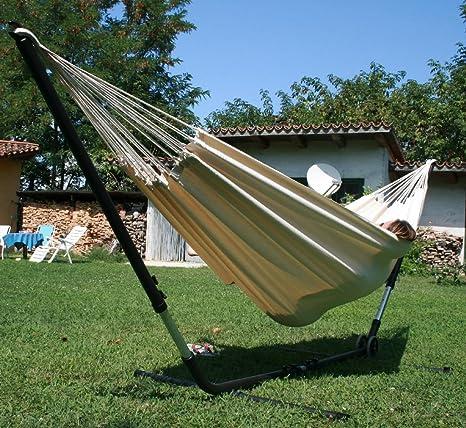 macamex Cuba gigante Hamac Support Armature en kit avec hamac en coton naturel pour deux personnes