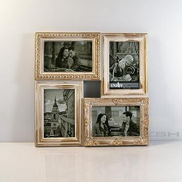 10x15 Fotogalerie Weiß mit Gold und Braun Bilderrahmen collage für 3 Bilder