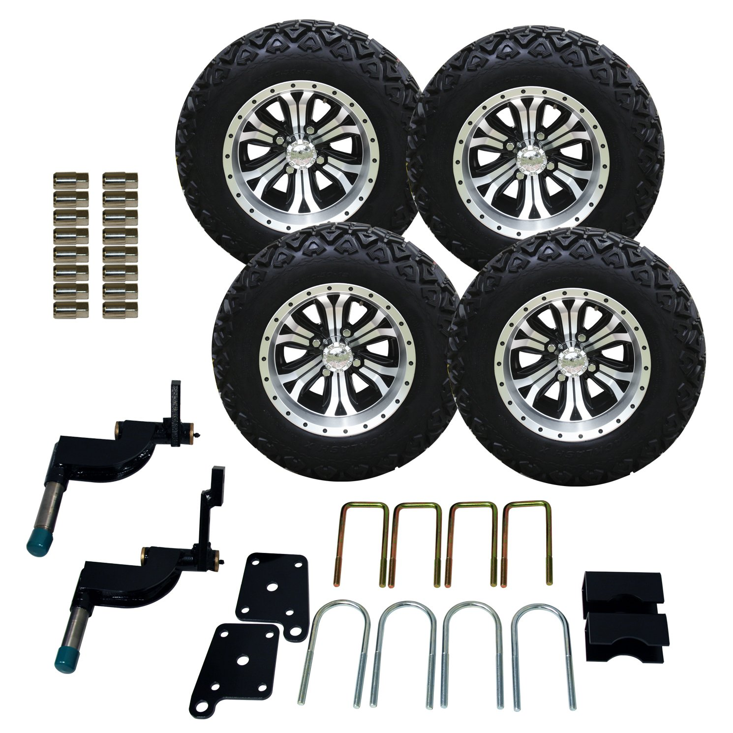 Pro-Fit 750503PKG 23 by 10.50 to 12-Inch Backlash X Tire with Machined Black Accents Optimus Wheel Package and Lift Kit Combo for TXT, 5-Inch helo he866 gloss black wheel with chrome accents 20x8 5 6x135mm