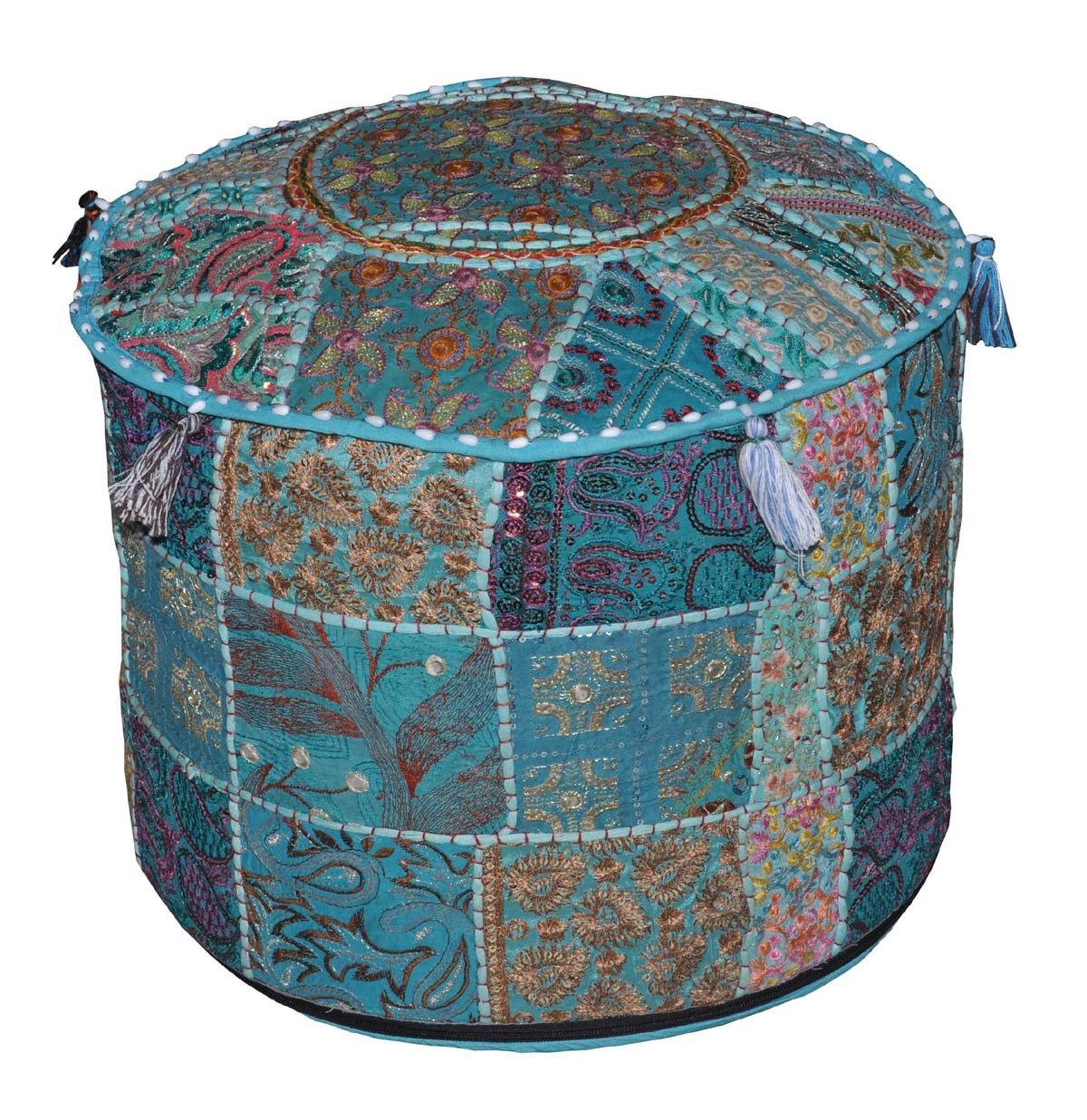 Vintage Indian Embroidery Round Cushion Ottoman Stool Pouf
