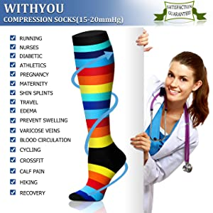 Compression Socks (8 Pairs), 15-20 mmHg is Best Athletic & Medical for Men & Women, Running, Flight, Travel, Nurses, Pregnant - Boost Performance, Blood Circulation & Recovery (Color: 03 Black/Black/Red/Purple/Black/White/Black/Red, Tamaño: Large/X-Large (US Women 8-15.5/US Men 8-14))