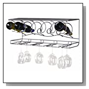 Wine Bar Wall Rack for Bottles and Wine Glasses
