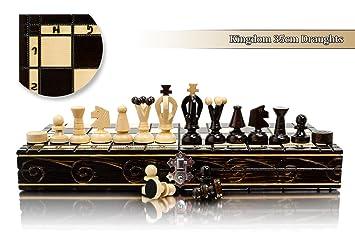 UNI 35cm / 14po Jeu d'échecs en bois et Dames / Dames, Jeu Classique