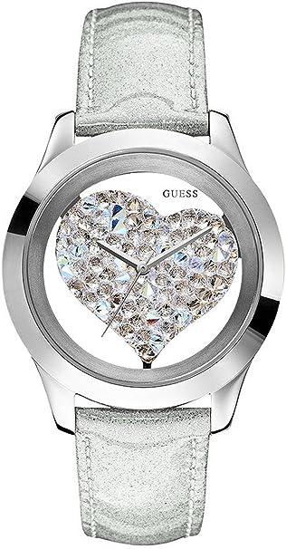GUESS Women's U0113L1 Silver-Tone Crystal Heart Watch