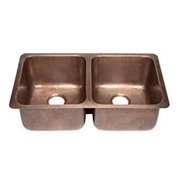 "Sinkology SK204-32AC Rivera Luxury Series Undermount Handmade Pure Copper Double Bowl Kitchen Sink, 32-1/4"", Antique Copper"