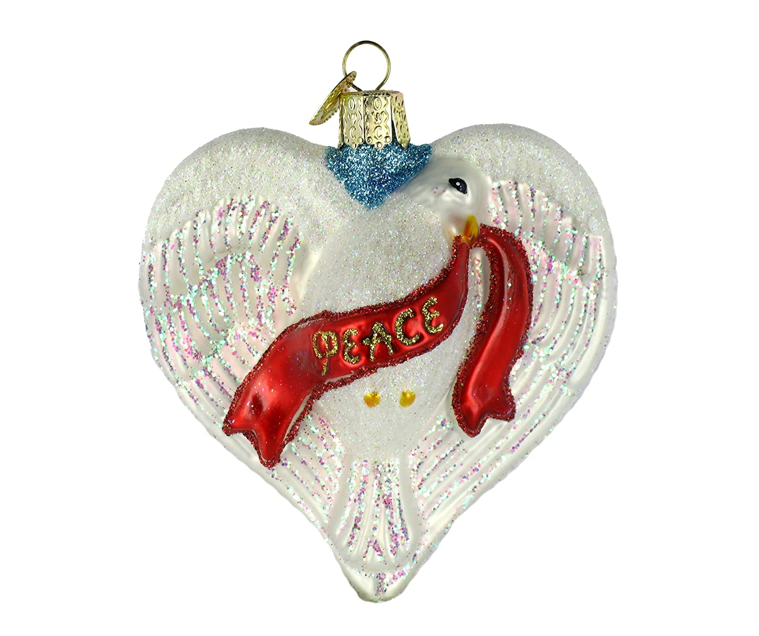 Old World Christmas Peace Dove Heart, 3  Glass Ornament