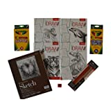 Young Artist 10 Piece Intermediate & Advanced Drawing Kit-Learn to Draw Horses, Dinosaurs, Sea Life & Jungle Animals