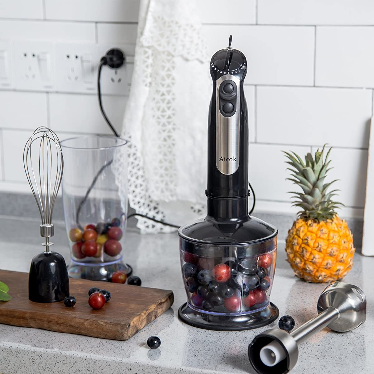 Aicok Immersion Hand Blender Mixer 5 Speed Smart Stick with Chopper & Whisk & Beaker Set, 350W, 4-in-1