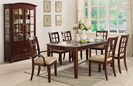 Home Source 50902127 5-Piece Hamilton Collection Asian Hardwood Dining Set, 30.25 by 84 by 40-Inch, Cherry/Beige Fabric