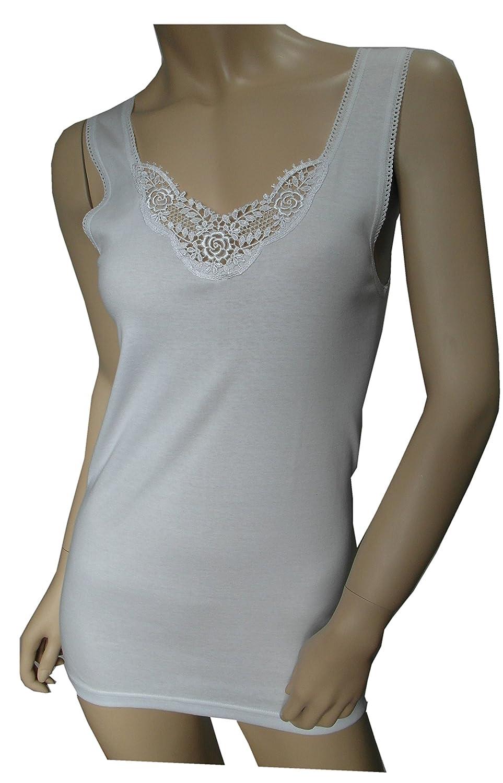 2 Stück Damen Unterhemd mit echter Spitze weiß von Einkaufszauber